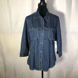 Seven7 Women's Chambray Long Sleeve Top Size L